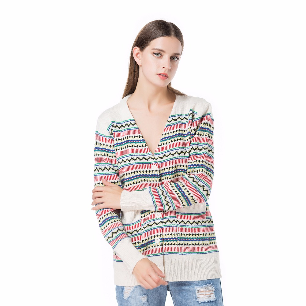 Womens Cardigans Christmas V-Neck New Fashion Autumn/winter Striped Long Sleeve Knit Sweater
