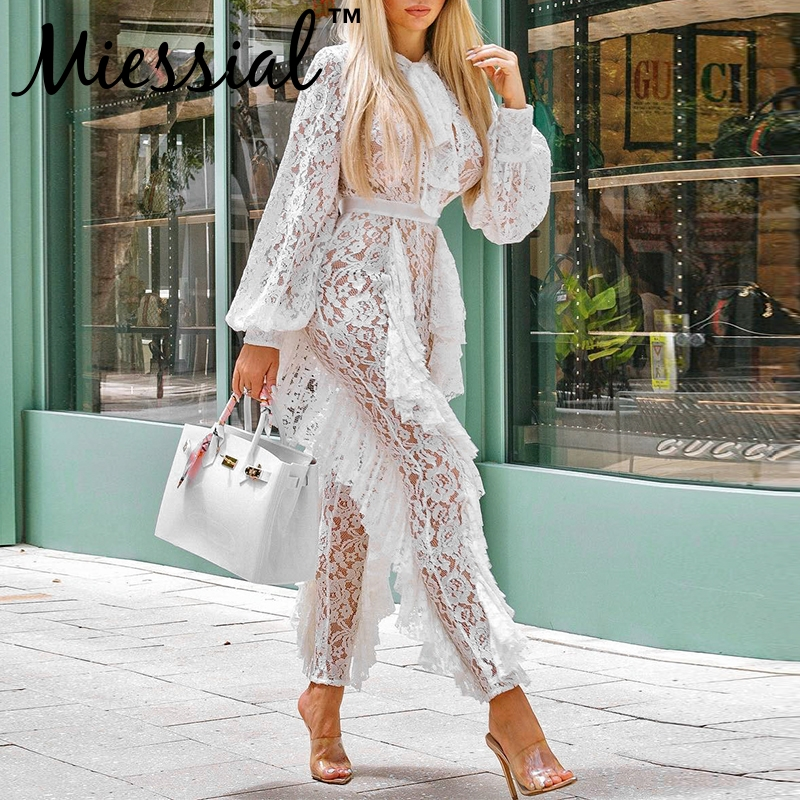 9b23688c38a3a ... Feedback Questions about Miessial Ruffle transparent mesh lace sexy  jumpsuit Women lantern sleeve long playsuit winter Female outwear jumpsuits  rompers ...