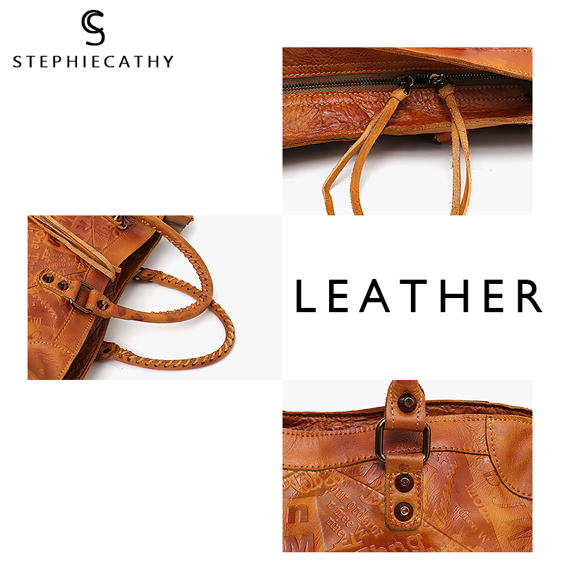 Image 3 - SC Large Women Leather Bags Female Retro Vintage Italian Leather Shoulder Tote Bag for Girls Large Capacity Luxury Designer-in Shoulder Bags from Luggage & Bags