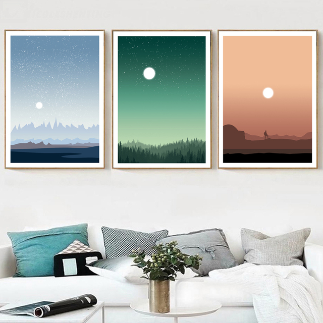 Abstract Sun Forest Mountain Star Moon Wall Art Canvas Painting Nordic Posters And Prints Wall Pictures For Living Room Decor