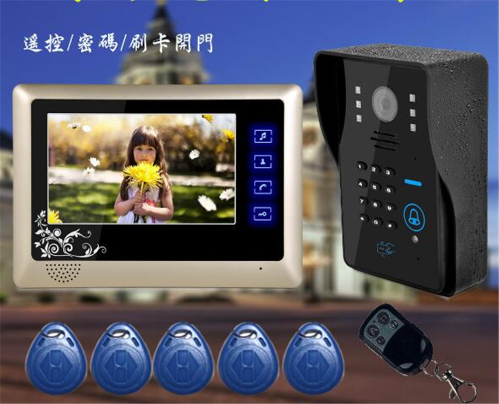 7 Inch Access Control RFID Card Password Open Door  Intercom Video Door Phone