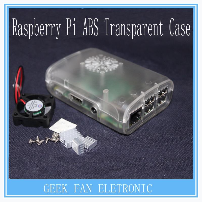 Raspberry Pi 2 & 3 ABS Transparent Case Cover Raspberry Pi Model B Plus Shell Box with Fan&Aluminum Heatsink for Raspberry pi