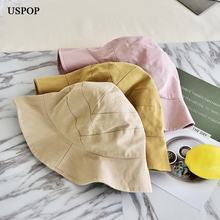 USPOP 2019 New collapsible summer hats women fashion cotton bucket female soft breathable solid color