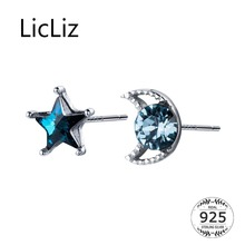 LicLiz 2019 New 925 Sterling Silver Zircon Star&Moon Stud Earring for Women Blue CZ Crystal White Gold Jewelry Gifts LE0574