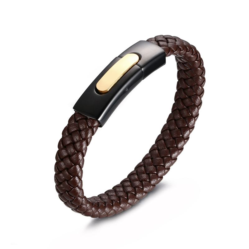 High Quality Real Leather Cuff Bracelet Bangle for Men Stainless Steel Brand Jewelry 20cm Black / Brown