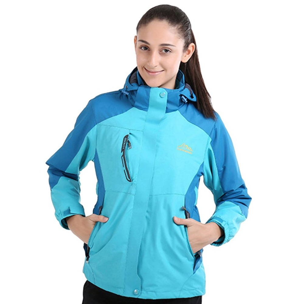 OUTAD Women Winter Inner Fleece Waterproof Hooded Jacket Outdoor Sport Warm Coat Jackets with Detachable Inner As Sweater Hot colorvalue winter double zipper running jacket women hooded fitness coat long sleeve sport yoga coat with pocket and thumb holes
