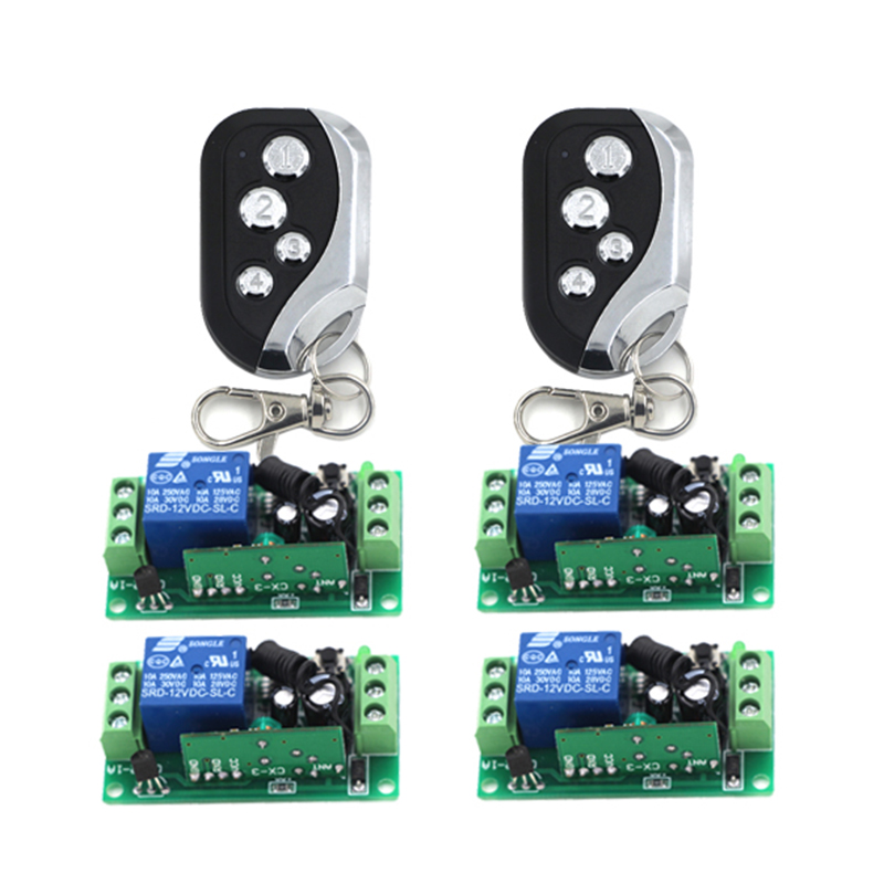 12V 1CH RF Wireless Control Receiver Momentary Switch Relay Remote Control 315MHZ Replacement Garage Door Opener 4 Receiver 4243