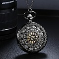 Unisex Vintage Pocket Watch Archaize Black Quartz Antique Pocket Watches with Chain Steampunk Anniversary Wedding Groomsmen Gift