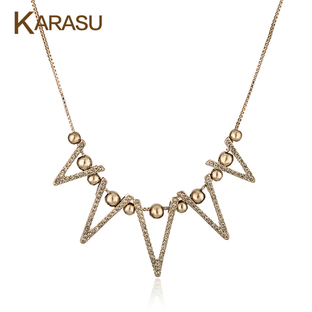 Vintage Hollow Triangle With Balls Pendant Real Gold Plated Long Box Chain Fashion Necklaces for Women Jewelry Gifts