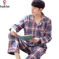 New Arrival Nightwear Plaid Spring Men Pajama Sets Cotton Full Sleeve Pyjamas Male Sleepwear Casual Soft