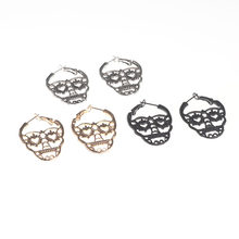 New Design Silver Black Color Skull Stud Earrings For Women Men Punk Rock Style Skeleton Ear Jewelry Gift(China)