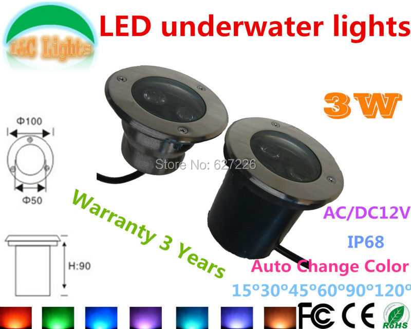 2PCs/Lot Auto Change Color 3W LED Underwater Light AC/DC 12V IP68 Waterproof Underground Lamp Outdoor Swimming Pool Lamp CE RoHS