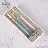 Never Pink Series Metal Ball Pen Gift Stationery Set 0.7mm Black Ink Roller Pens Business Office Accessories School Supplies|Ballpoint Pens| |  -
