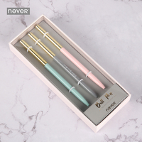 Never Pink Series Metal Ball Pen Gift Stationery Set 0.7mm Black Ink Roller Pens Business Office Accessories School Supplies