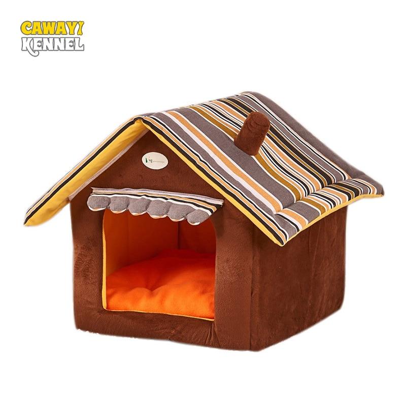 Stripe Soft Home Shape Dog Bed Hund Kennel Pet Hus För Valp Hundar - Produkter för djur