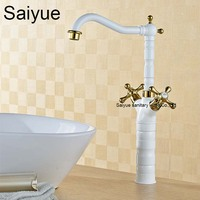 Wholesale and Retro Royal White Gold Brass Double Handle Bathroom Basin Mixer Tap Sink Faucet European Style Bath Torneira