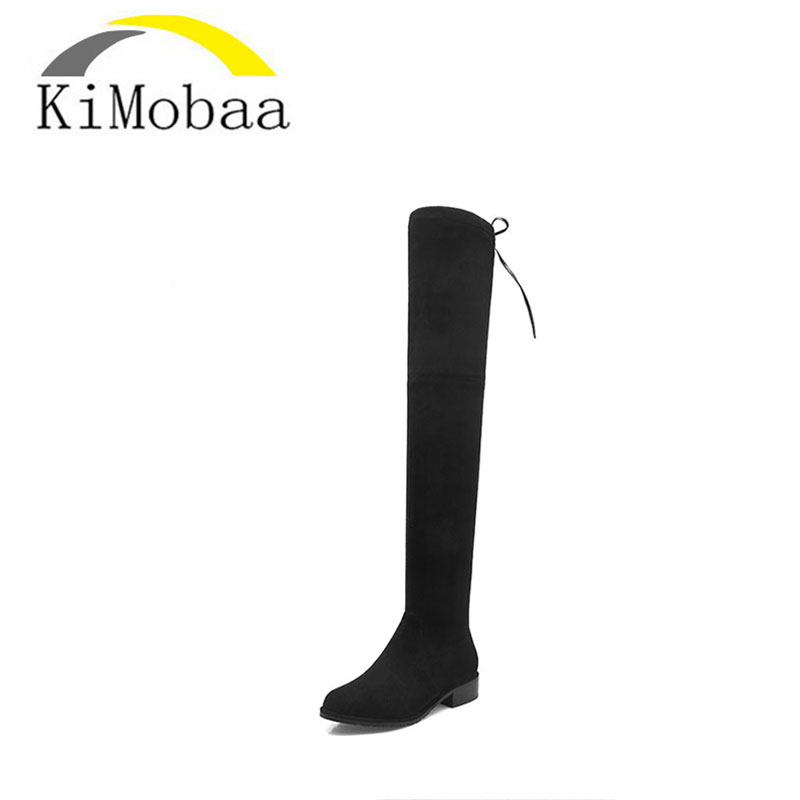 Kimobaa Over-the-knee leather boots women Winter shoes woman Black suede +flock Lace up 33-41 High quality Free shipping TX108 цены онлайн