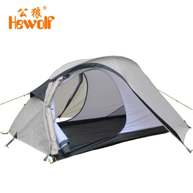 Hewolf Outdoor Camping Tent 2 Person Double Layer Windproof Waterproof Tents For Hiking Fishing Beach Picnic Party Travel outdoor double layer camping tent family tent 3 person beach garden picnic fishing hiking travel use