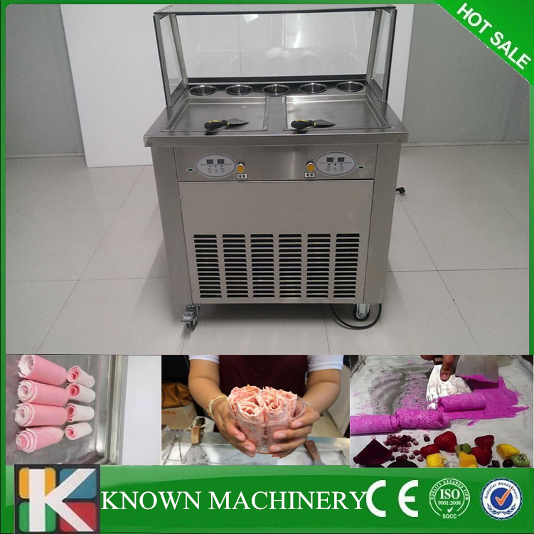 2016 Hot sale thailand 110v/220v60Hz cold double pans with 5 cooling tanks ice pan fry fried ice cream machine2016 Hot sale thailand 110v/220v60Hz cold double pans with 5 cooling tanks ice pan fry fried ice cream machine