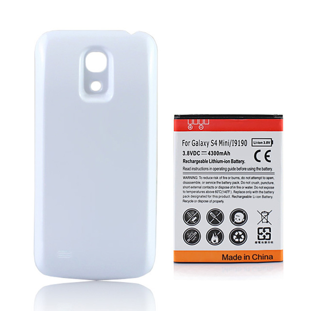 detailed look c73dc 83391 US $9.05 9% OFF|For Samsung Galaxy S4 mini i9190 Extended Battery 4300mAh  With White Back Cover For Samsung Galaxy S4 SIV mini i9190-in Mobile Phone  ...