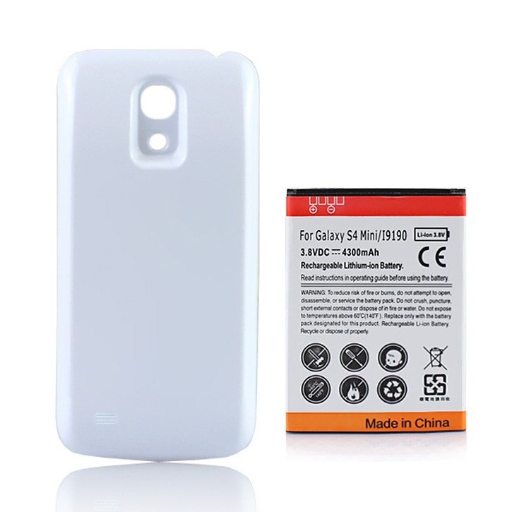 For Samsung Galaxy S4 mini i9190 Extended Battery 4300mAh With White Back Cover For Samsung Galaxy S4 SIV mini i9190