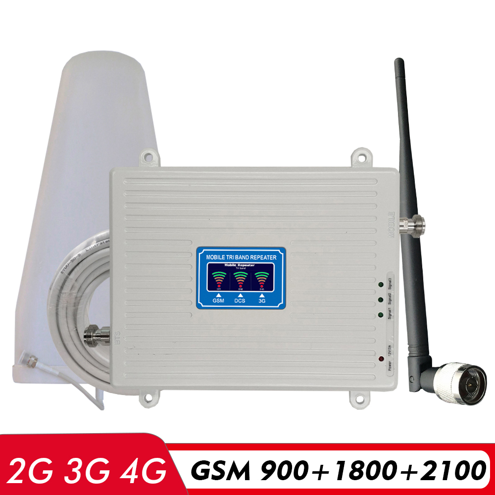 2G 3G 4G Tri Band Repeater GSM 900 DCS LTE 1800 UMTS WCDMA 2100 Cell Phone