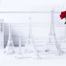 White Eiffel Tower Decor,five Sizes Pure Color Tower Non-Ferrous Metal Home Decoration Improvement Cake Topper