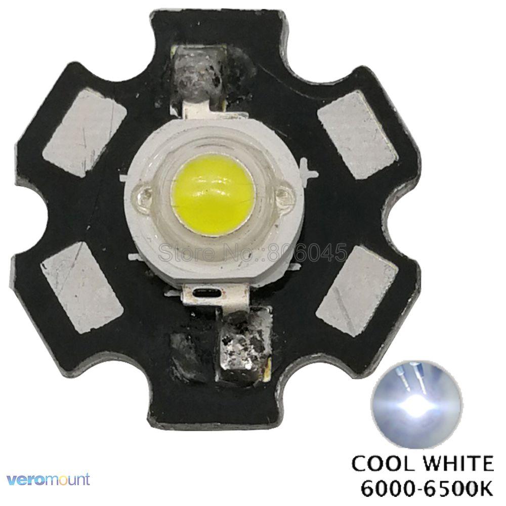 1PCS 5W White High Power LED Light Emitter 6000-6500K with 20mm Star Heatsink