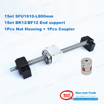 L800mm RM1610 SFU1610 ballscrews with Ballnut + end machining + BK12 BF12 Support + 1610 Ballnut Housing + 6.35*10 plum Coupling