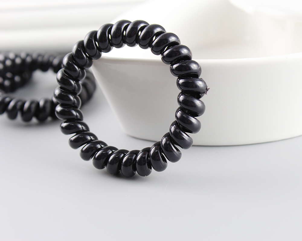 10pcs /lot Girls Black Elastic Telephone Wire Cord Line Head Ties Hair Band Rope 5.5CM Diameter strong telephone wire
