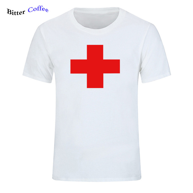 fef58bead619 BITTER COFFEE Top Quality T Shirts Fashion RED MEDICAL CROSS Printed T  Shirt Men Brand T-shirt Cotton Tee Shirt Plus Size