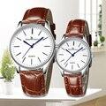 Correa de Cuero Reloj de moda Masculina Impermeable Amantes Pareja Hombres Mujeres Reloj de Pulsera de Mujer de Cuarzo Relojes Relogio masculino