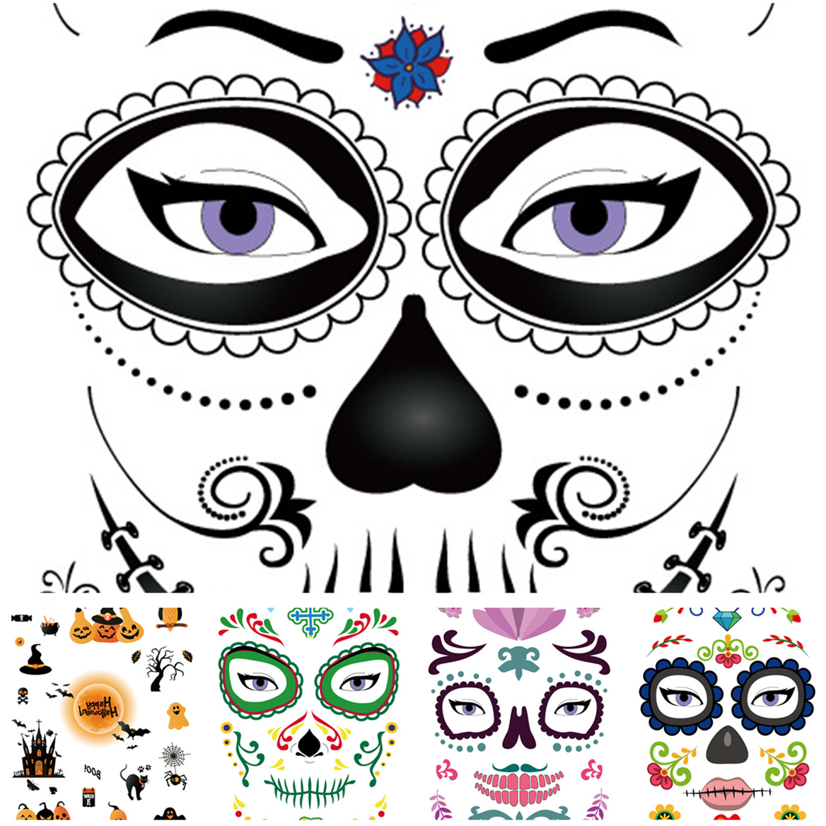 5PCS Skull Temporary Tattoos Sticker Floral Design Magic Eye Face Mask Tattoo for Women Men Beauty Makeup Stage Halloween Party