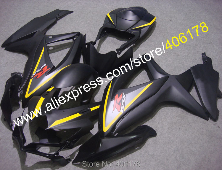 Hot Sales,For Suzuki GSX-R600 R750 08 09 10 GSXR 600 750 2008 2009 2010 K8 Black Fairings of Motorcycle (Injection molding) hot sales for suzuki gsxr 600 k8 gsxr 750 body kit 08 09 10 gsx r 600 750 2008 2009 2010 aftermarket fairing injection molding
