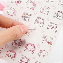 6 Pages/Pack Cute BOBO Bear In Love Decorative Planner Sticker DIY Diary Scrapbooking Phone Index Seal Stickers Children Gift