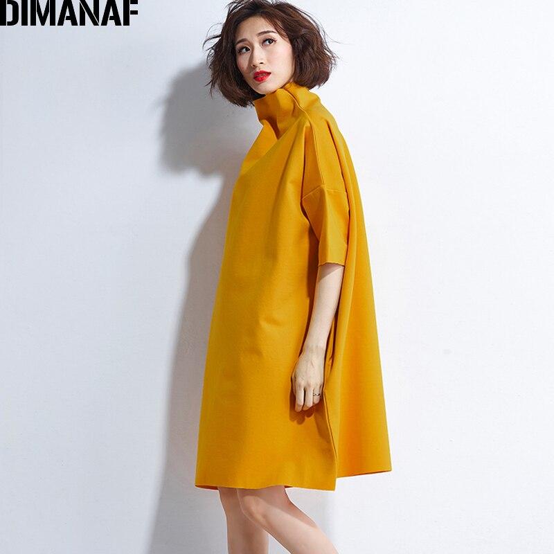DIMANAF Autumn Dresses Women Turtleneck Cotton Knitting Femme Clothes Elegant Solid Vestidos Plus Size Fashion Ladies Dress 2018 5