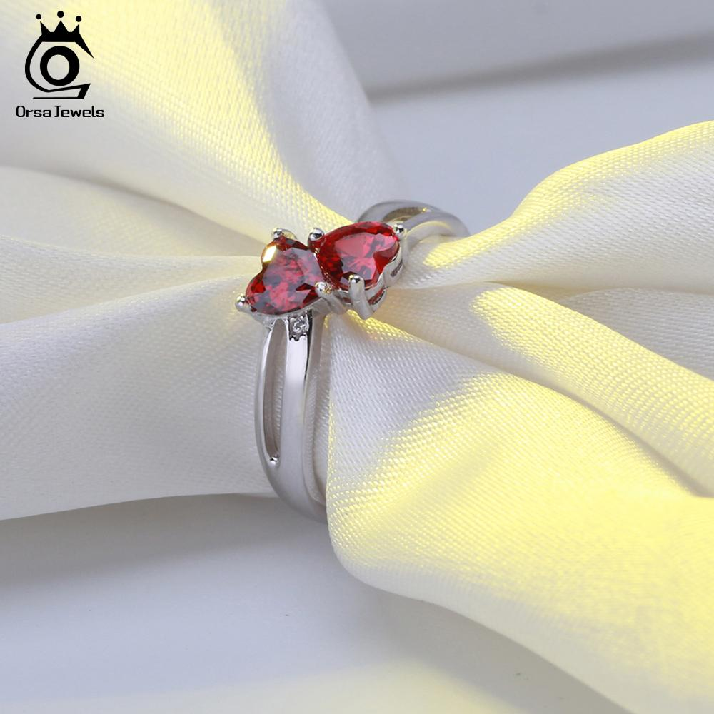 ORSA JEWELS Genuine 100% 925 Sterling Silver Anniversary Wedding Heart Ring AAA Cubic Zircon Rings Women Fine Jewelry AASR58