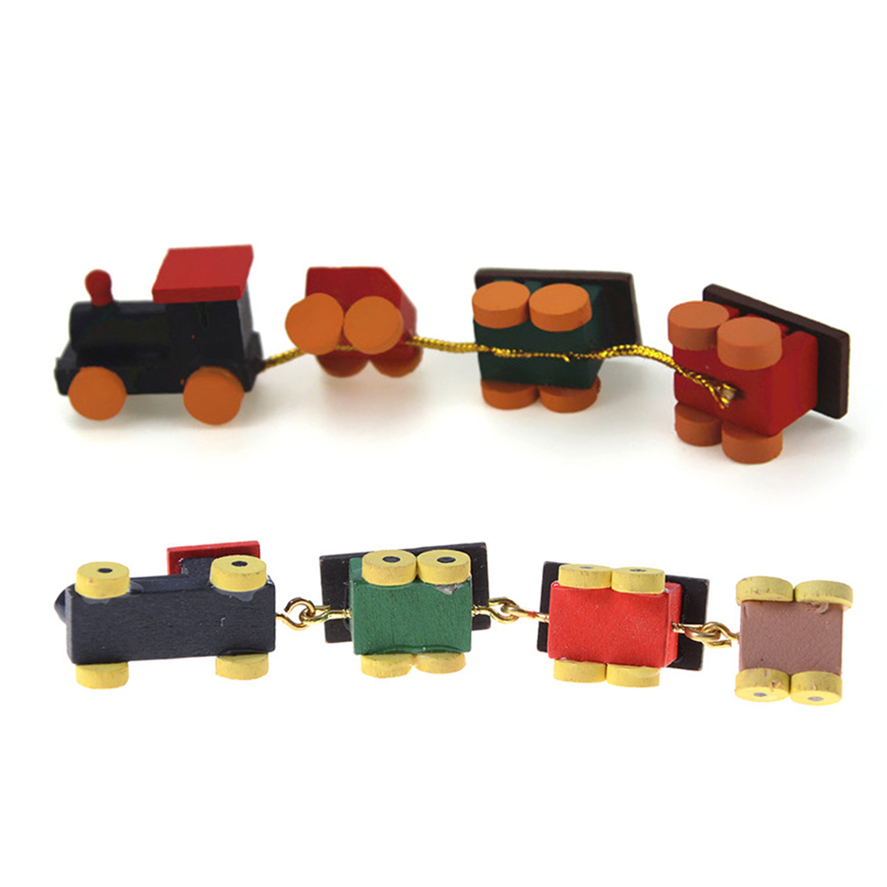 Colorful Wood Trains Model Toys Gifts For Children 1/12 Dollhouse Miniature Painted Wooden Toy Train Set And Carriages
