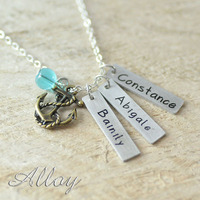 Custom Alloy Colorful Bead Necklace 3 Hand Stamped Long Bar Charm 1 Anchor Pendant Necklace BFF