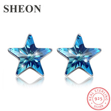 New Arrival 925 sterling silver stud luxury Royal blue star Austria crystal earrings fashion jewelry for women free shipping