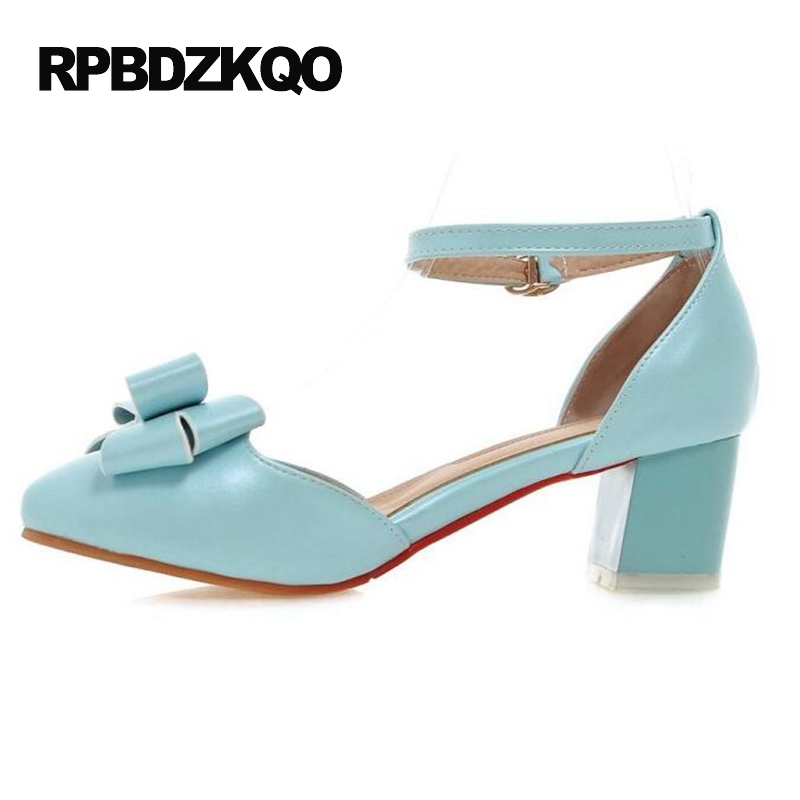 High Heels Medium Pink Closed Ankle Strap Block Sandals Pumps Size 4 34 Cute Light Blue Women Shoes Pointed Toe 2017 Bow New цена