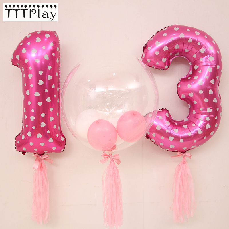 Grande 32 polegada rosa azul número da folha balões dígitos hélio balões festa de aniversário decoração do casamento balões ar fontes de festa evento