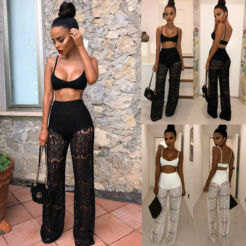 Hirigin Women Lace Crop Tops Blouse +Pants Two-piece Playsuit Bodysuit   Jumpsuit   Romper Set