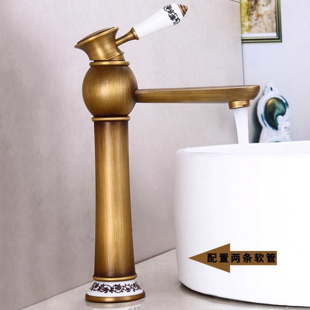 BAOLINLONG Antique Styling Brass Basin Deck Mount Bathroom Faucets Vanity Vessel Sinks Mixer Single Tap in Basin Faucets from Home Improvement