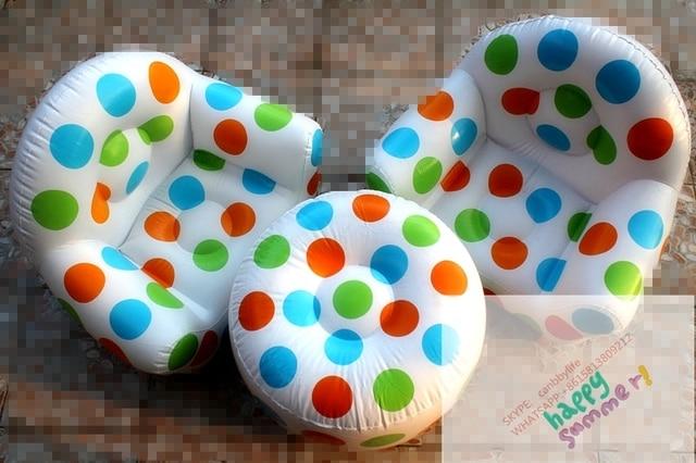 Polka Dot Pvc Inflatable Kids Sofa Table Set Living Room