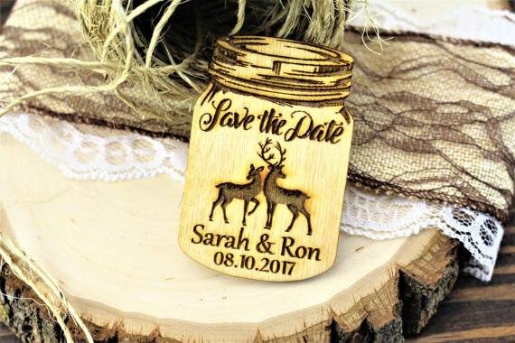 Doe and Buck Wooden Magnet Deer and Buck Wedding Magnet Wedding Favor Circle Wedding Save-The-Date-Magnet Save The Date Magnets