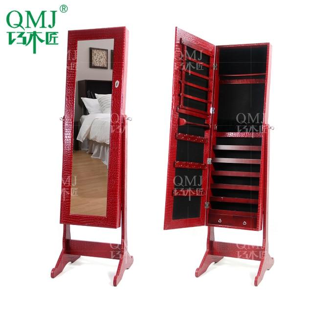 Nuevo lujo gran madera del gabinete joyas con espejo for Gabinete de almacenamiento dormitorio