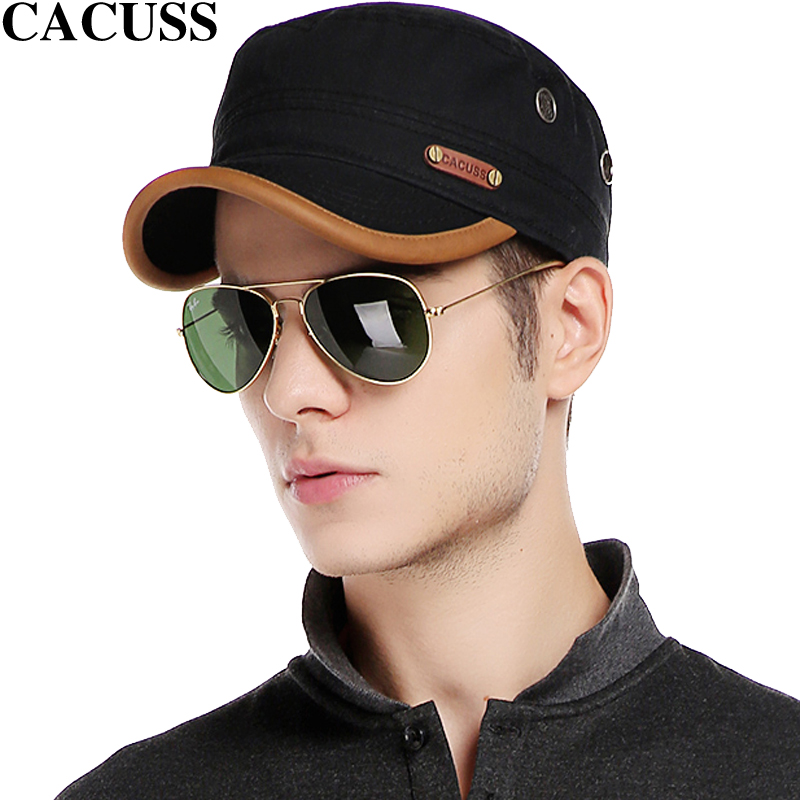 CACUSS brand Casual Men high quality Cotton Army Cap Leather Visor Baseball Caps Boys Flat Top Hats Hot Sale trave hats hot sale cotton solid men tank top