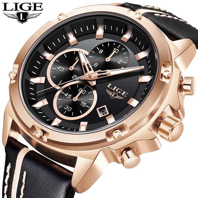 Mens Relógios LIGE Top Marca de Luxo Esportes De Couro Casual Mens Relógio de Ouro À Prova D' Água Grande Mostrador do Relógio Masculino Relogio masculino + caixa