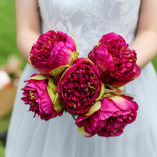 Artificial 5 Peony Bouquet Bride Bridesmaid Fake Hydrangea Home Decoration